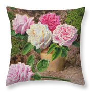 Roses In An Earthenware Vase By A Mossy Throw Pillow