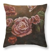 Roses In The Sun Throw Pillow by Elizabeth Lane