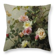 Roses On A Wall Throw Pillow