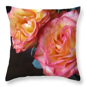 Roses On Dark Background Throw Pillow