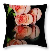 Roses On Glass Throw Pillow