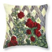 Roses On Lattice Throw Pillow