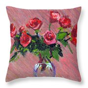 Roses On Pink Throw Pillow