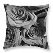 Roses On Your Wall Black And White  Throw Pillow