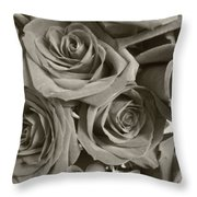 Roses On Your Wall Sepia Throw Pillow