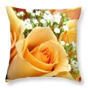Roses Orange Blossoms Throw Pillow