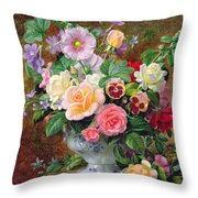 Roses Pansies And Other Flowers In A Vase Throw Pillow by Albert Williams