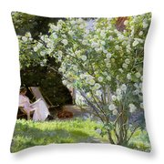 Roses Throw Pillow by Peder Severin Kroyer
