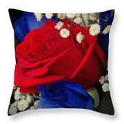 Roses - Red White And Blue Throw Pillow