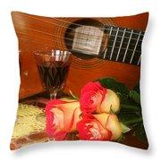 Guitar 'n Roses Throw Pillow