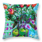 Roses With Apples Throw Pillow