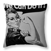 Rosie In Black And White Throw Pillow