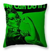 Rosie In Green Throw Pillow