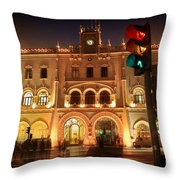 Rossio Train Station Throw Pillow