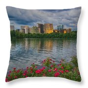 Rosslyn Virginia Sunset From Across The Potomac River Throw Pillow