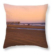 Rosy Evening At Isle Of Palms Throw Pillow