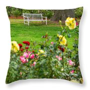 Rosy View - Beautiful Rose Garden Of The Huntington Library. Throw Pillow