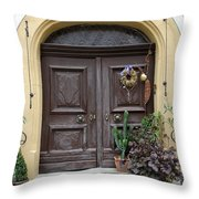 Rothenburg Ob Der Tauber Door  Throw Pillow