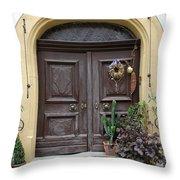 Rothenburg Ob Der Tauber Door  Throw Pillow