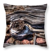 Rotted Railroad Tie Throw Pillow