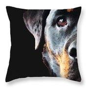 Rottie Love - Rottweiler Art By Sharon Cummings Throw Pillow