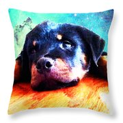 Rottie Puppy By Sharon Cummings Throw Pillow by Sharon Cummings
