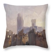 Rouen Cathedral Sunrise Throw Pillow