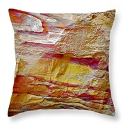 Rough And Red Rock In Petra-jordan  Throw Pillow