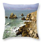 Rough Californian Shore Near San Francisco Ca Cliff House 2 Throw Pillow