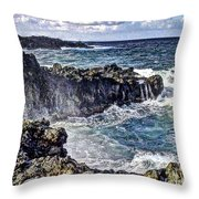 Rough Rocks Near Hana Throw Pillow