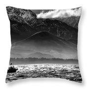 Rough Seas Kaikoura New Zealand In Black And White Throw Pillow