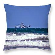 Rough Seas Shrimping Throw Pillow