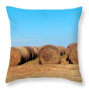 Round Bales Of Hay Throw Pillow