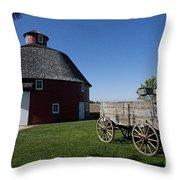 Round Barn Wooden Wagon Throw Pillow