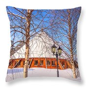 Round In The Snow Throw Pillow by Susan Leonard