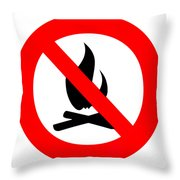 Round Fire Ban Sign Symbol Isolated On White Throw Pillow