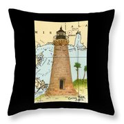 Round Island Lighthouse Ms Nautical Chart Map Art Throw Pillow
