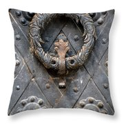 Round Metal Doorknob Throw Pillow