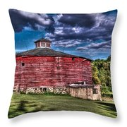 Round Red Barn Throw Pillow