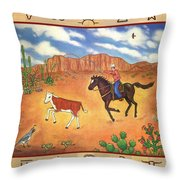 Round Up And Cattle Brands Throw Pillow