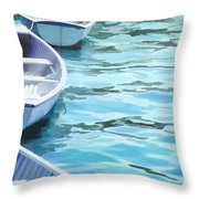 Rounded Row Of Rowboats Throw Pillow