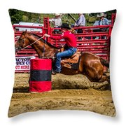 Rounding The Barrel Throw Pillow