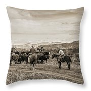 Rounding Up Cattle In Cornville Arizona Sepia Throw Pillow