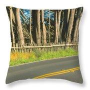 Route 1, Mendocino, California Throw Pillow
