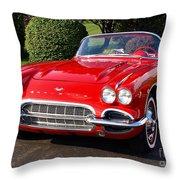 Route 66 - 1961 Corvette Throw Pillow