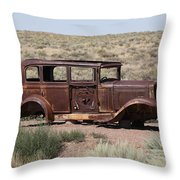 Route 66 - Abandoned Car Throw Pillow