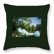 Route 66 Blue Whale Waterpark Throw Pillow