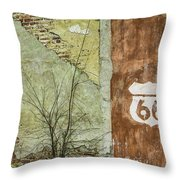 Route 66 Brick And Mortar Throw Pillow