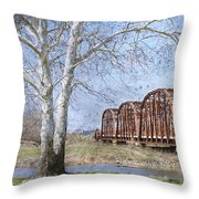 Route 66 Bridge Throw Pillow