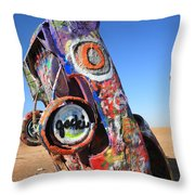 Route 66 Cadillac Ranch Throw Pillow